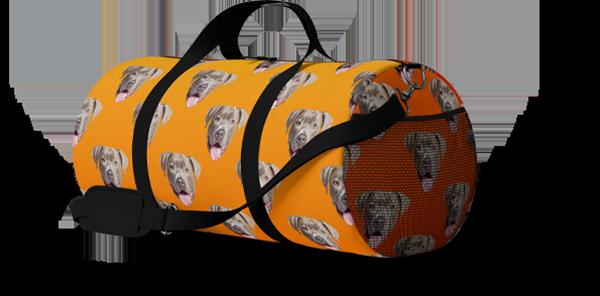 pitbull dog on a custom duffel bag