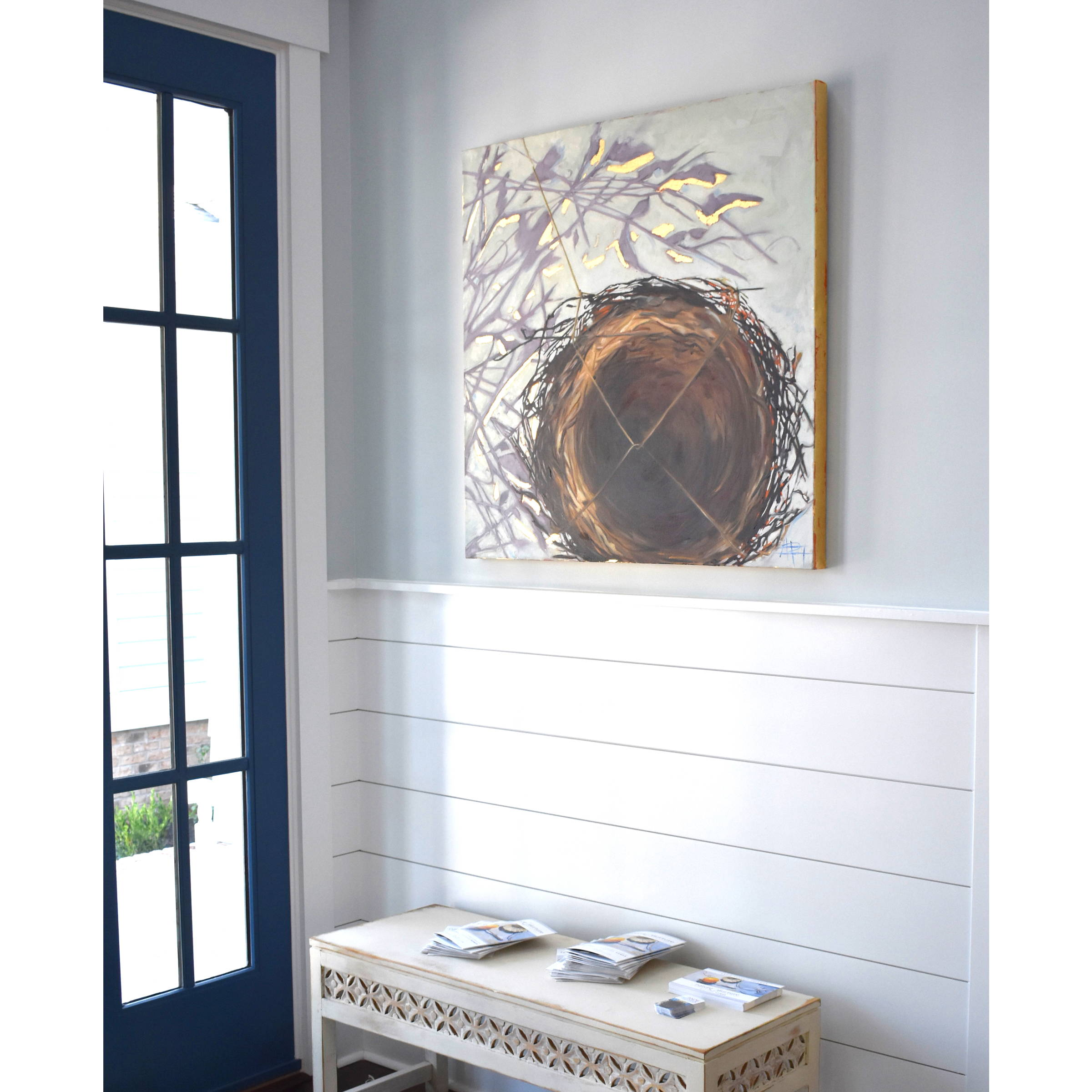 Nest with Muted Shadows oil painting by Andie Paradis Freeman of farmhouse chic and modern nest