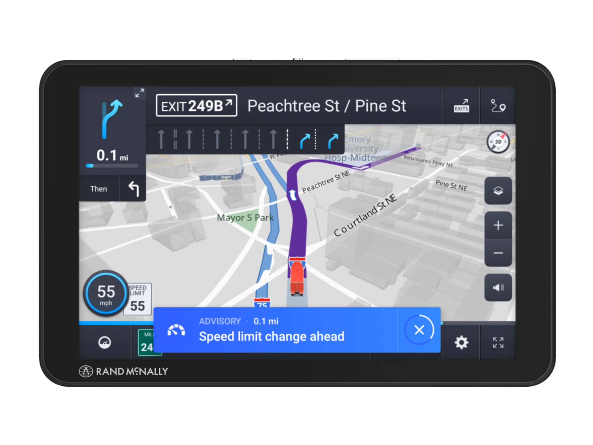 Rand McNally TND Tablet 85 Truck GPS with Built-in Dash Cam Rand 2.0 Navigation and Lifetime Maps 8 Inches TND85 Black