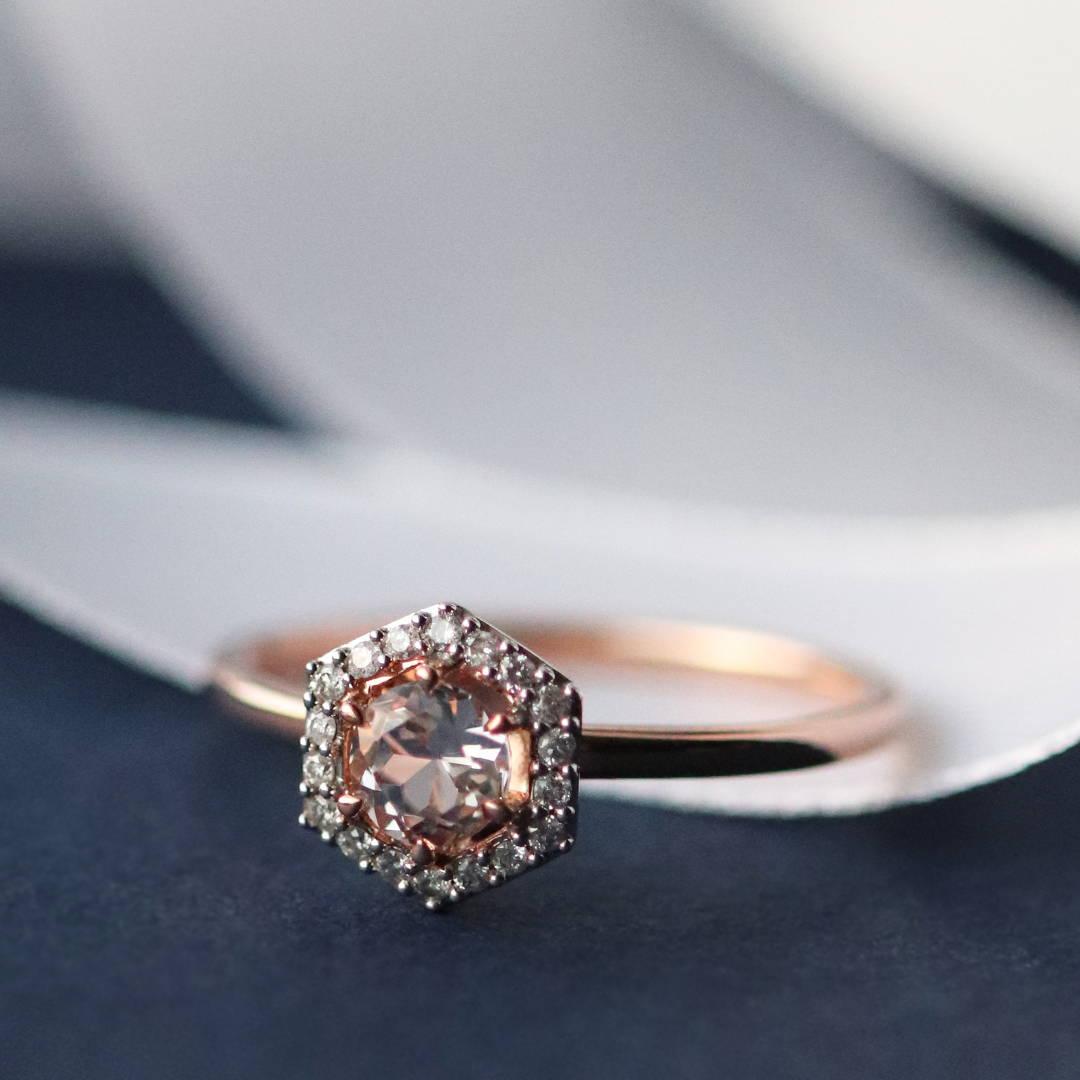 Diamond and Morganite Rose Gold Engagement Ring
