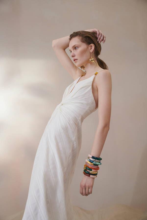 Galvan London Embelished Midi Strap White Dress