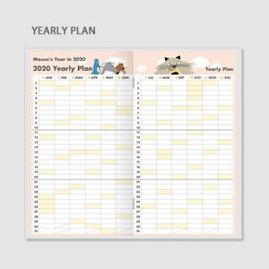 Yearly plan - Chachap 2020 Hello mouse dated monthly planner scheduler