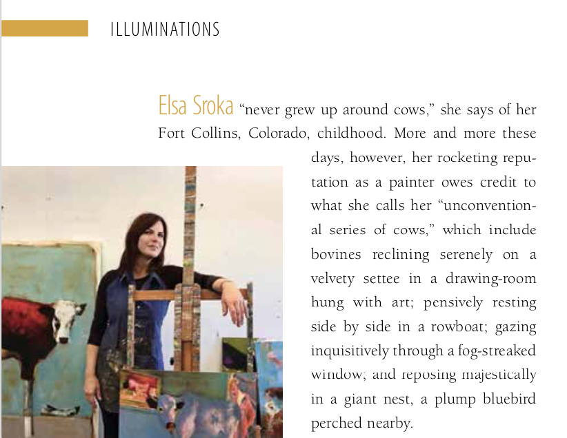 Elsa Sroka. Cow Art. Sorrel Sky Gallery. Santa Fe Gallery. Contemporary western art.