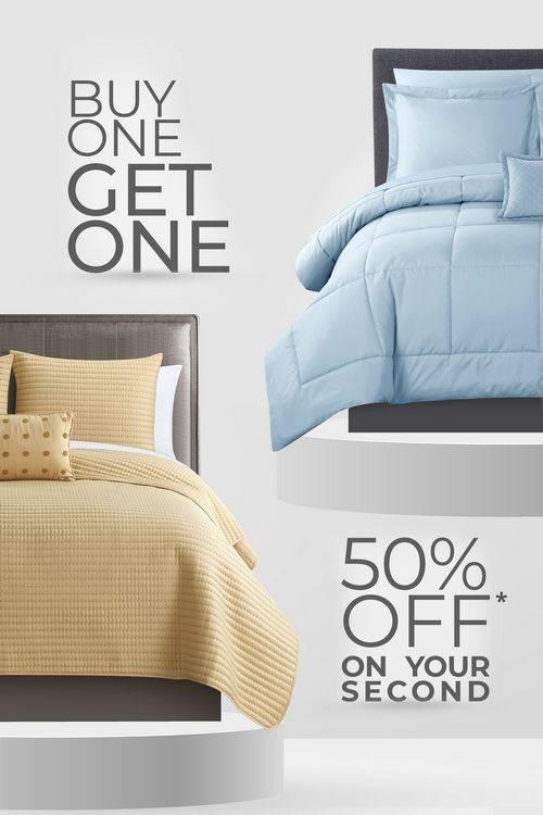 Vertical image of two bedding sets for BOGO Sale