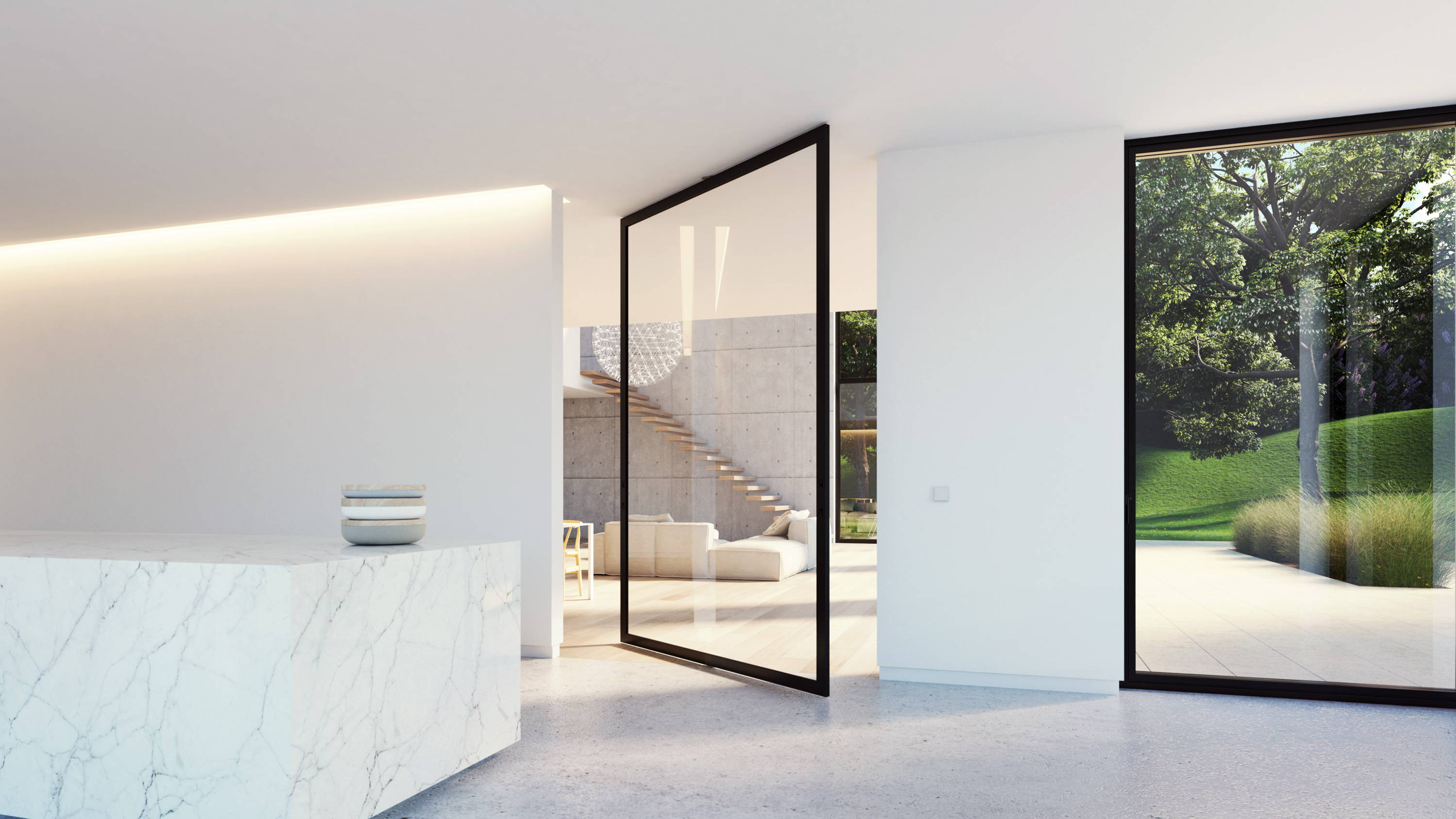 Glass pivot door in crittall style