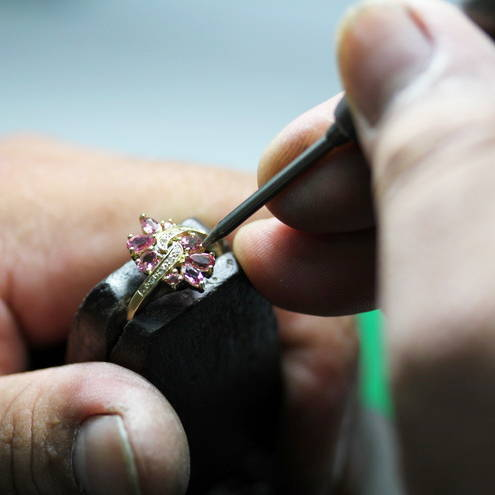 Gemstones being set in jewellery
