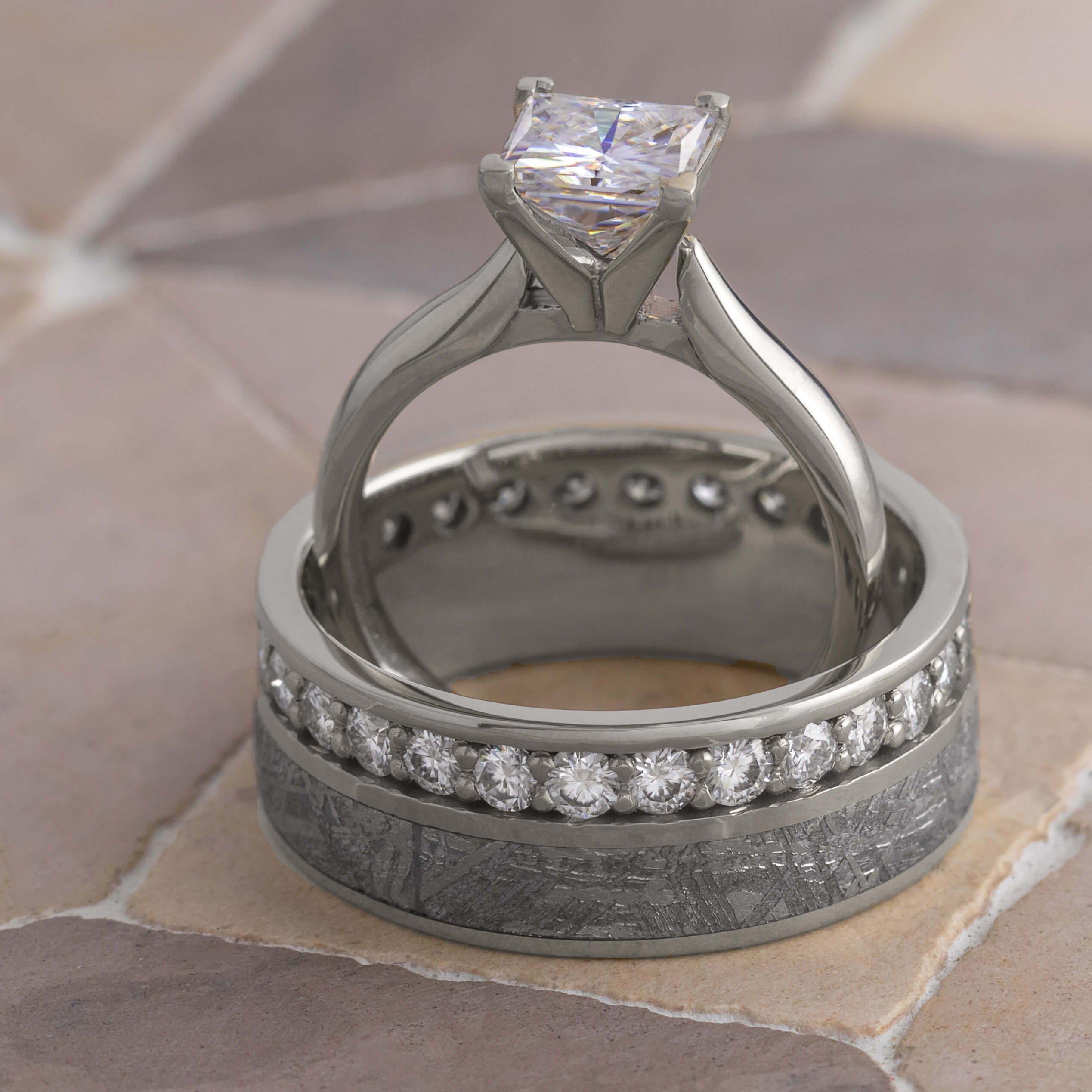 Platinum Engagement Ring and Wedding Band