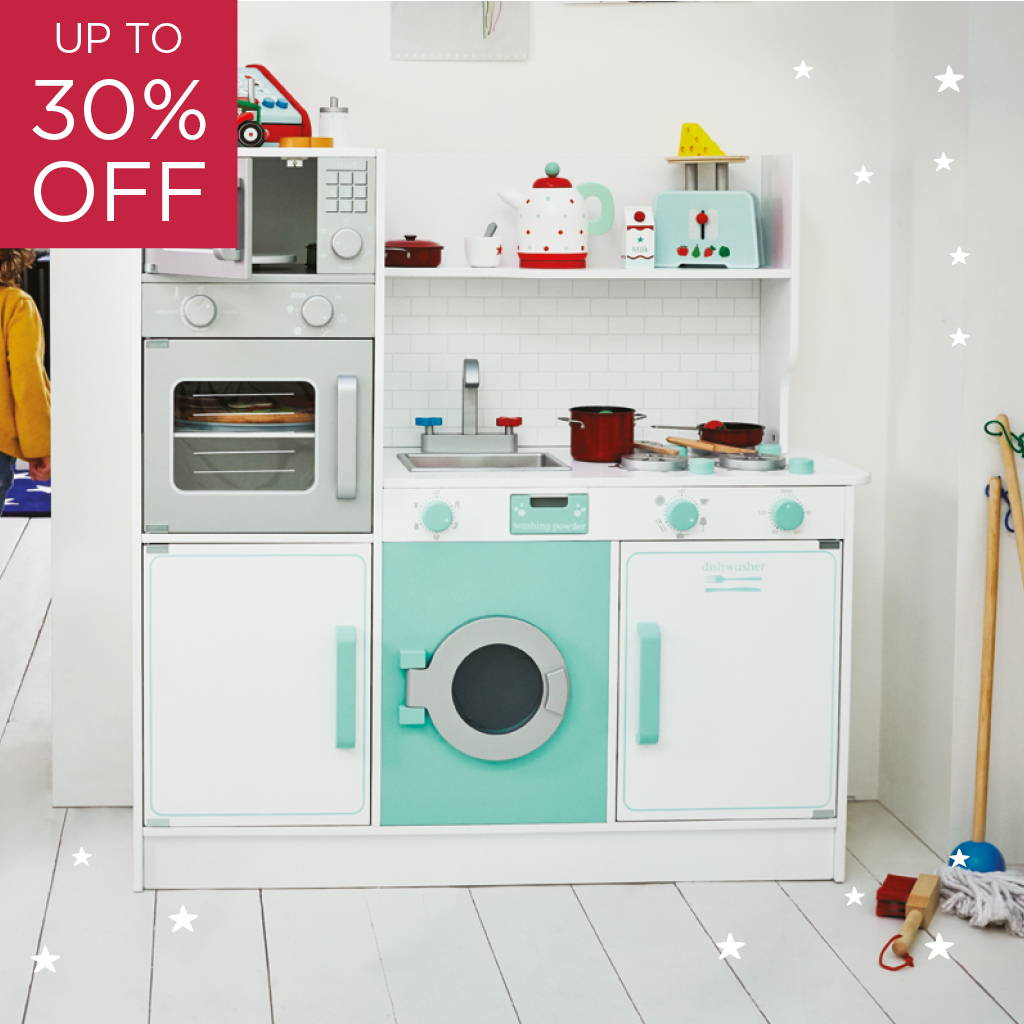 peppermint white & blue play kitchen