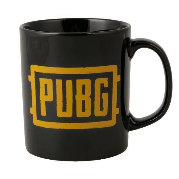 Black mug with yellow logo.