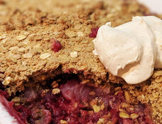 Ginger, Apple & Raspberry Crumble