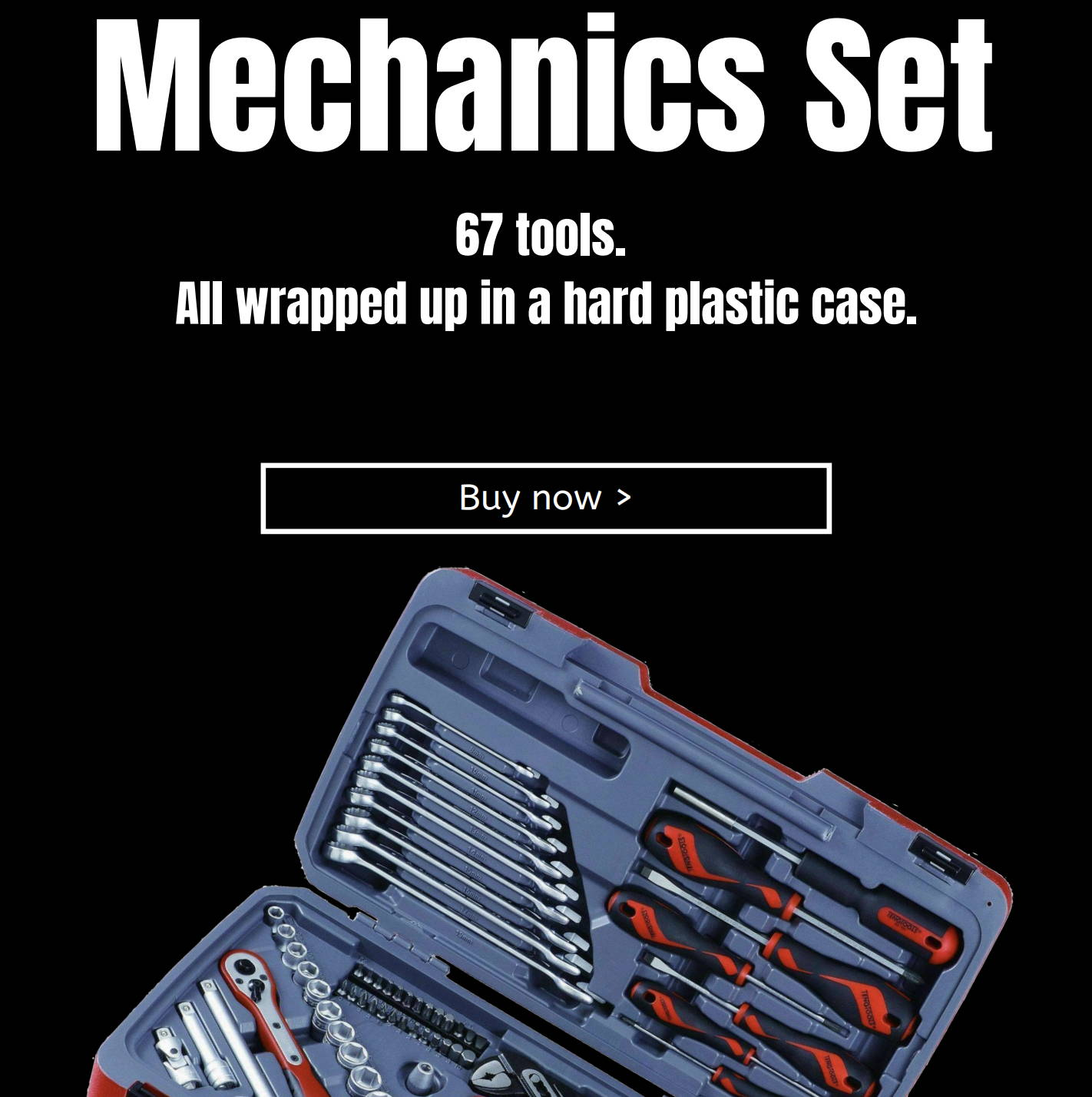 Mechanics Set. 67 tools. All wrapped up in a hard plastic case.