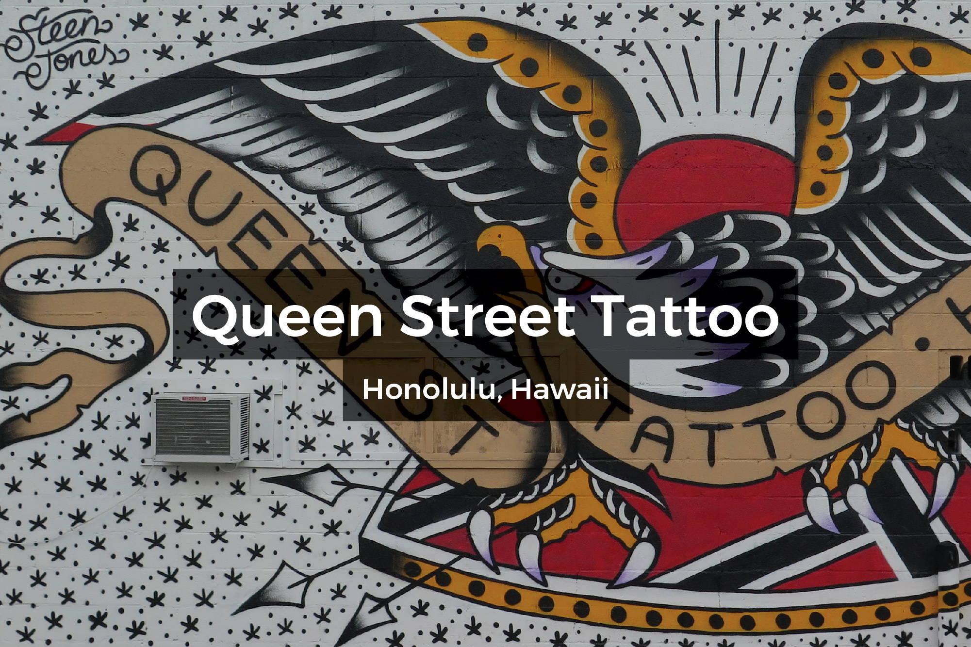 Queen Street Tattoo mural in Honolulu, Hawaii by Steen Jones