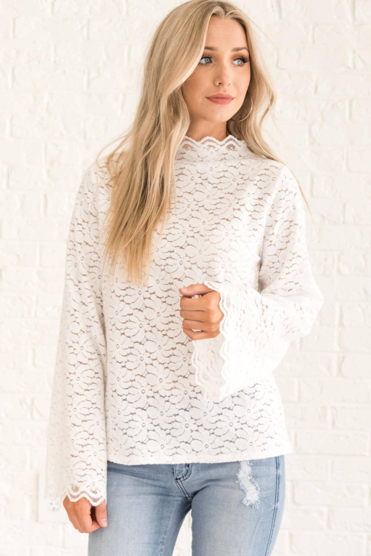 White Crochet Lace Long Bell Sleeve High Mock Neck Boutique Blouses Business Casual for Women