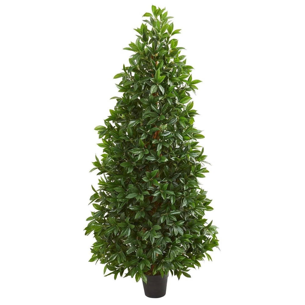 Nearly Natural 5' Bay Leaf Cone Topiary Artificial Tree UV Resistant (Indoor/Outdoor)