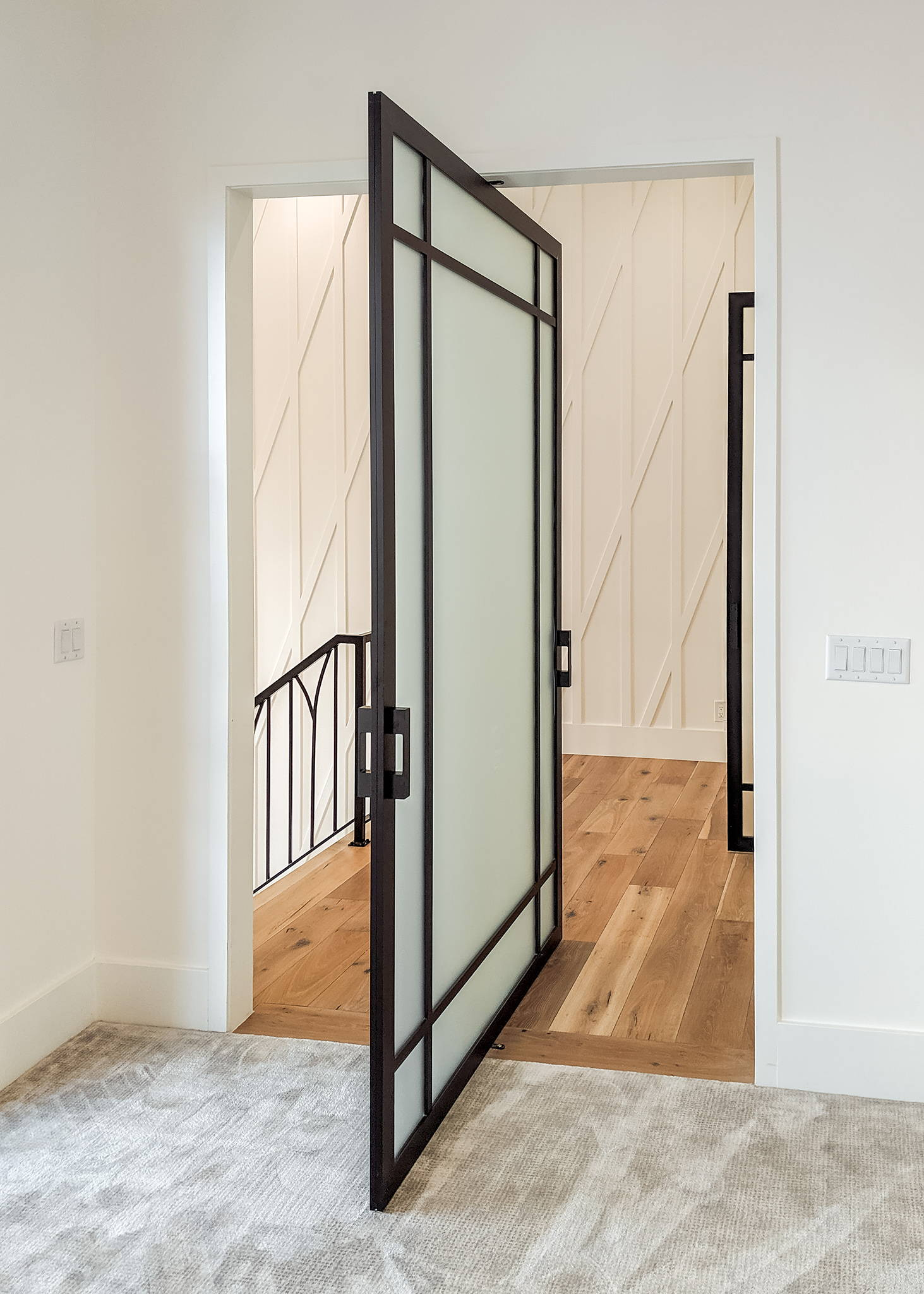 Glass pivot door with frosted glass and black frame