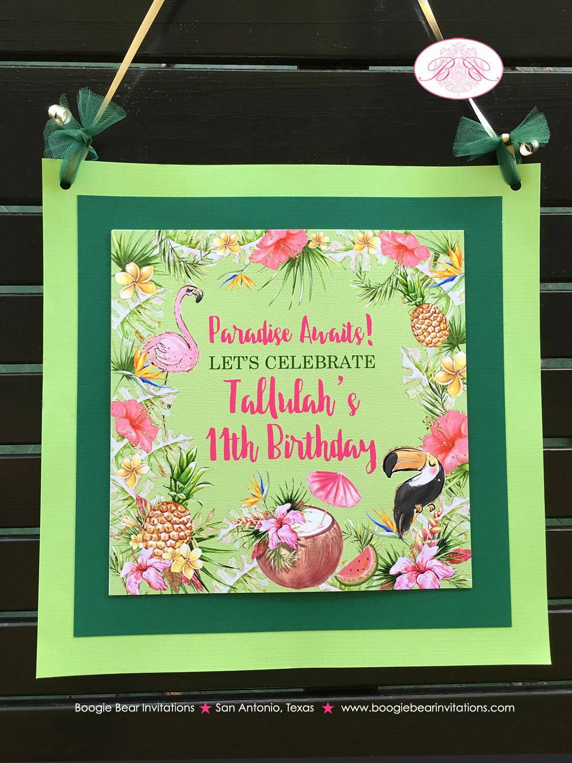 Tropical Paradise Tallulah Theme Front Door Banner