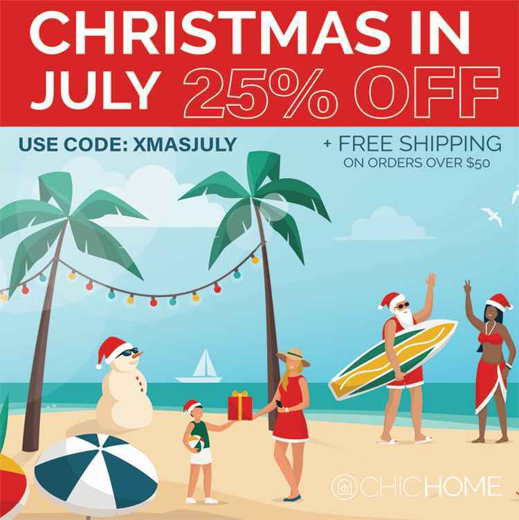 A banner image showing people on the beach in Christmas themed apparel