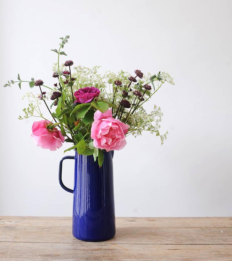 Blue Falcon Jug with flower arrangement