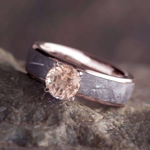 Meteorite Engagement Ring With Morganite