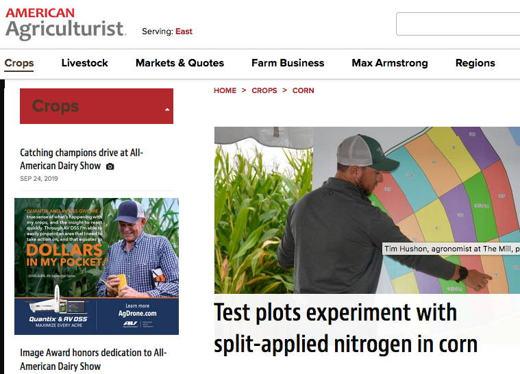 News article about Mill agronomist at crop showcase discussing nitrogen uptake in corn