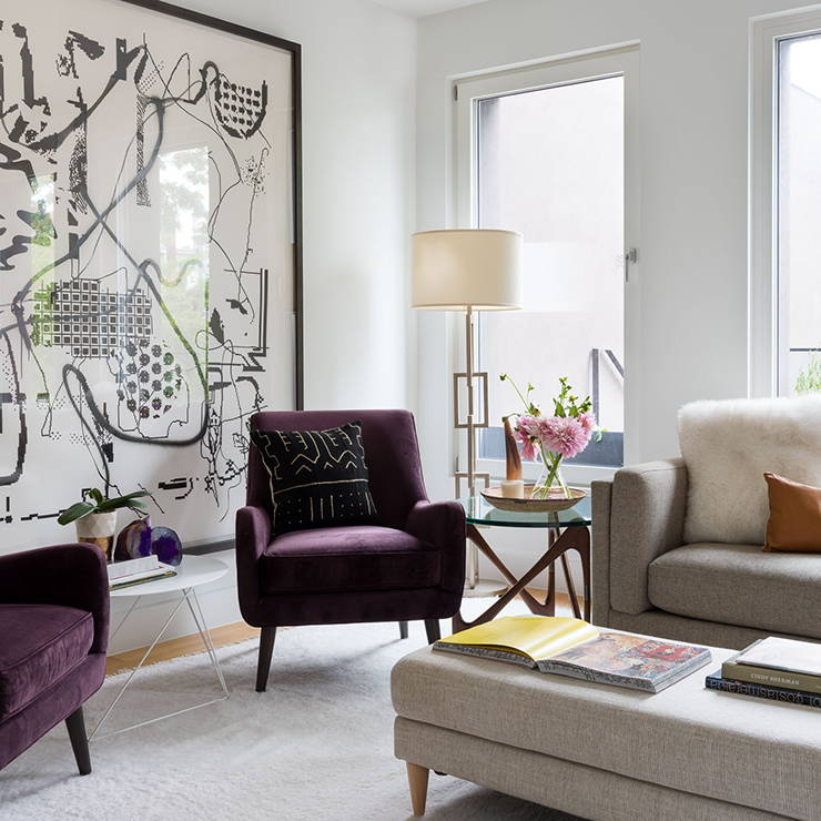Allegra styled this bright living area of a waterfront home in Brooklyn, NYC
