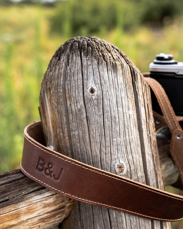 digital camera strap of chestnut color