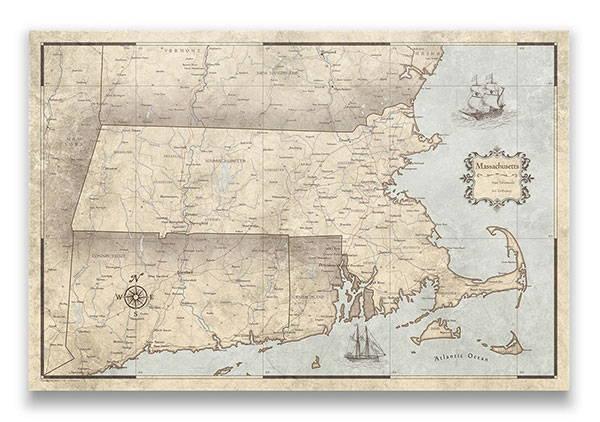 Massachusetts Push pin travel map rustic vintage