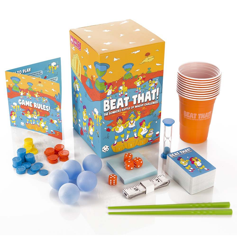 Beat That! family board game showing all components
