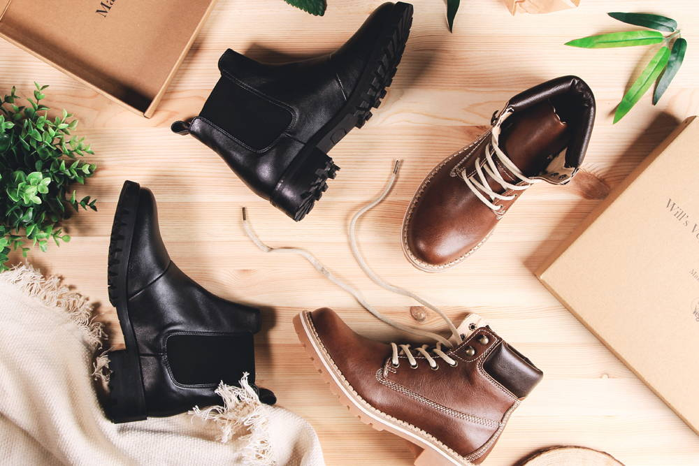 Vegan Boots in Brown and Black Flat lay image