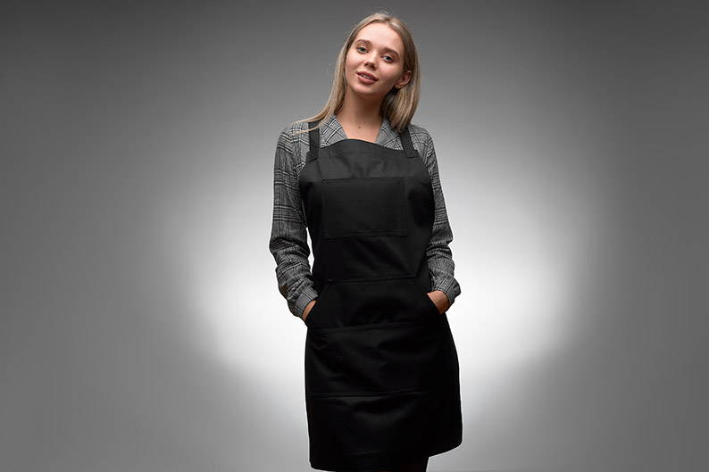 Black unisex apron