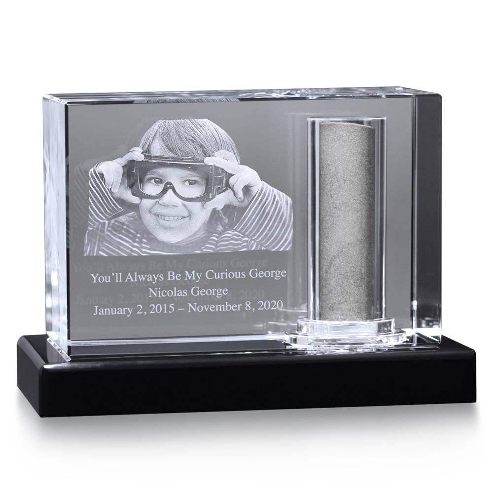 Crystal memorial urn for boy ashes