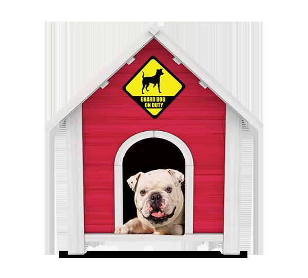 Bulldog in Doghouse Guarding