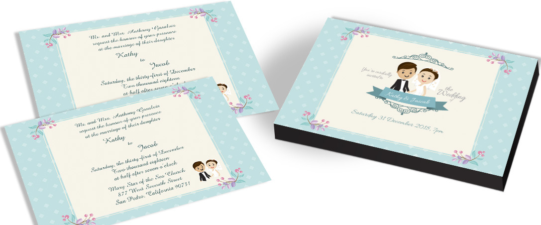 Antique Invitation Card for Christian Wedding
