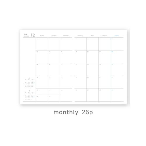 Monthly plan - O-CHECK 2020 Linen paper A4 dated monthly diary planner