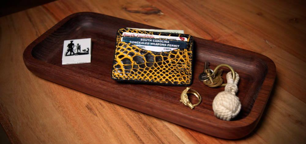 gold black alligator wallet