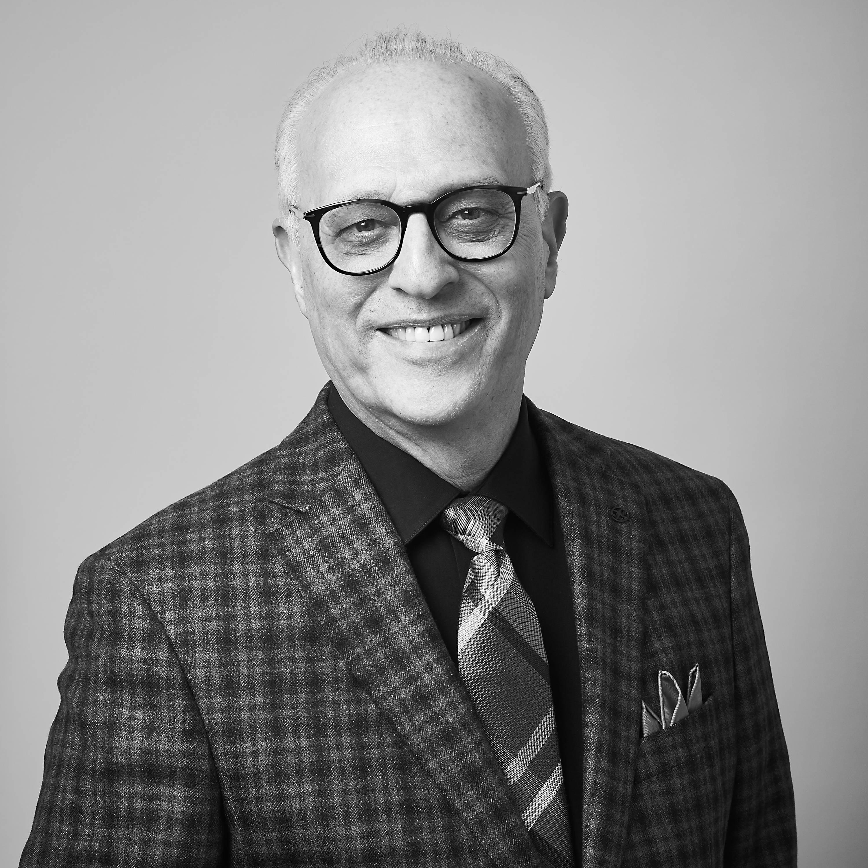 Medium greyscale shot of Larry Berkowitz.