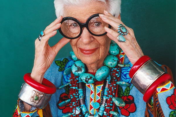 A photograph of Iris Apfel
