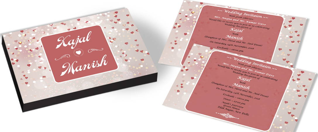 Falling Hearts Theme Wedding Invitations