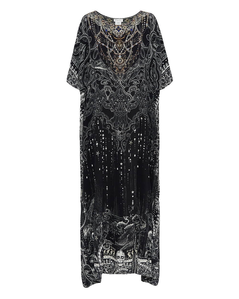 CAMILLA black and silver embellished kaftan