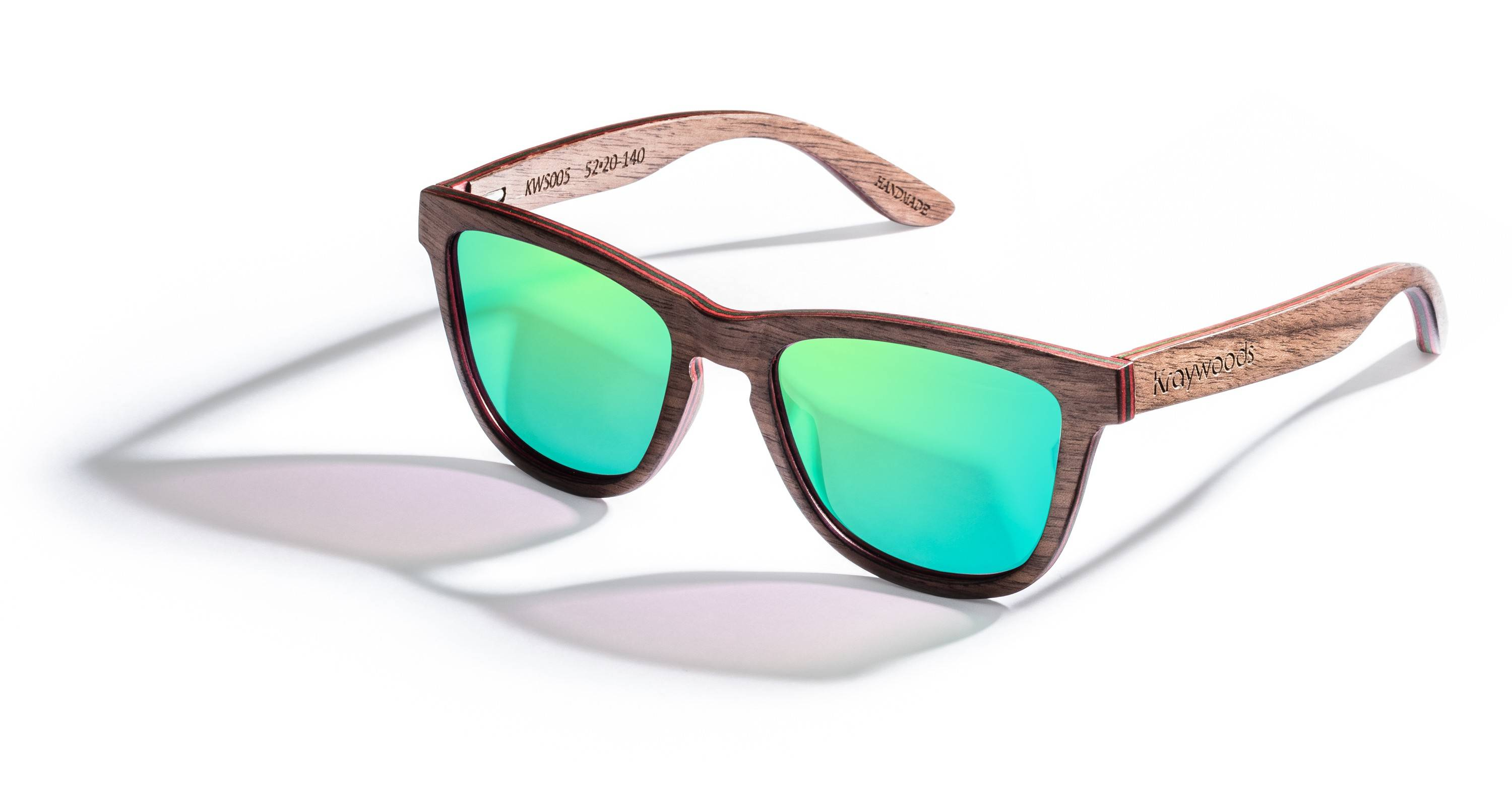 Kraywoods Racer, Classic Sunglasses made from Walnut wood with Polarized Green Lenses