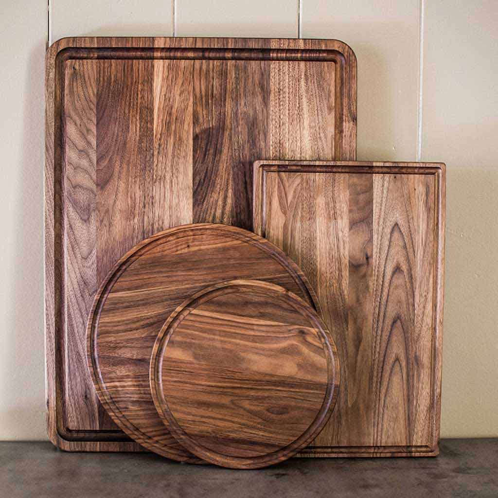 Each board is made from kiln dried walnut lumber then is cut sanded and smoothed carefully to provide a sturdy and durable board to last years