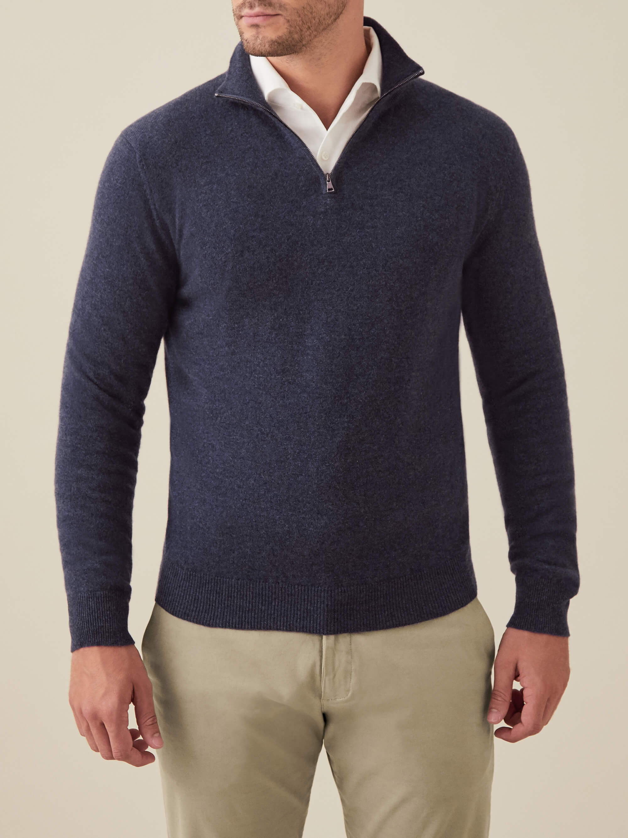 Luca Faloni Blue Cashmere Zip-up Made in Italy