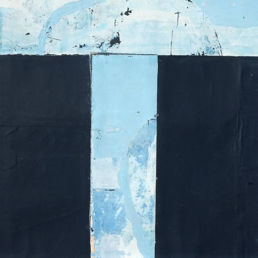 Abstract mixed-media blue by Antoine Puisais