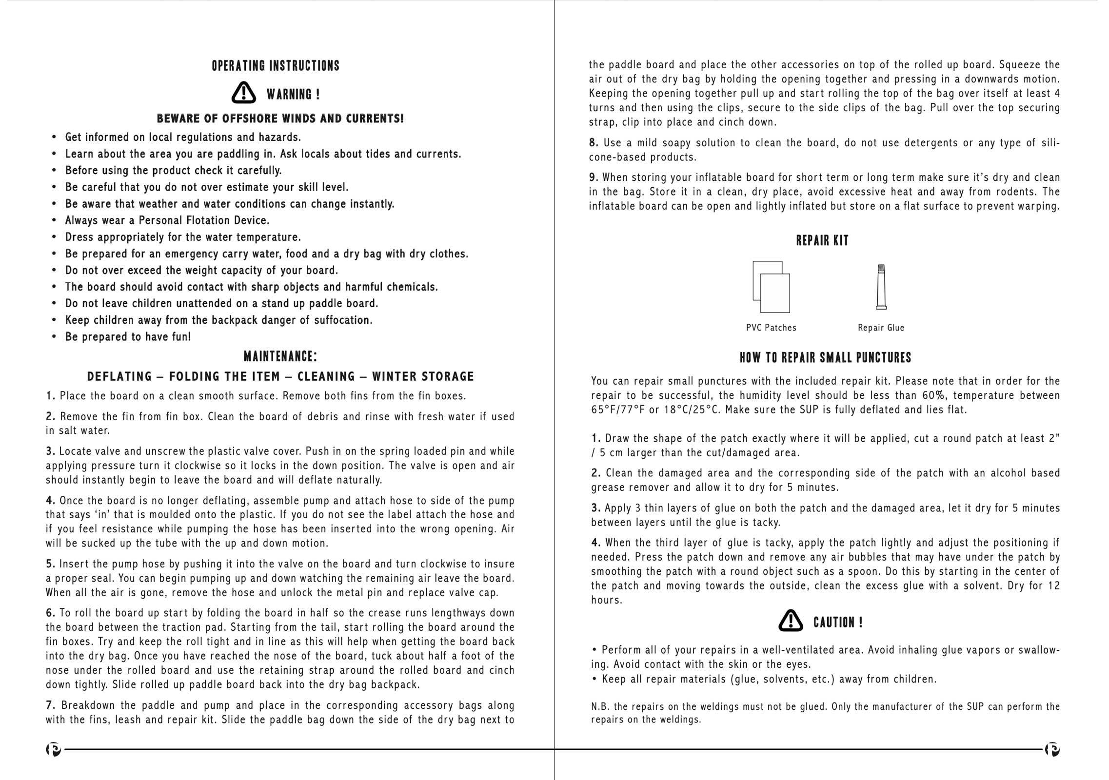 pau hana Solo SUP Backcountry inflatable stand up paddle board user manual page 6-7