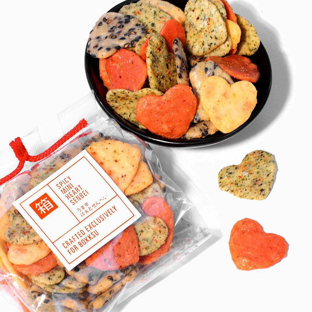 Japanese Spicy mini heart senbei rice crackers