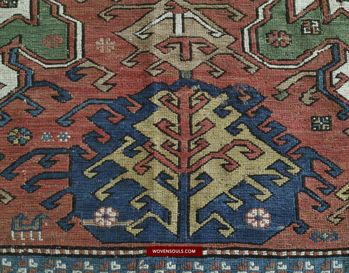 Antique Azeri Dragon Soumac Sumac Sumakh Rug Azerbaijan