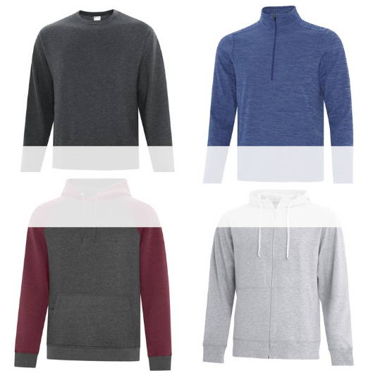 Blank, unbranded sweaters (pullover hoodies, full zip hoodies, crew neck sweaters, 1/2 and 1/4 zip sweaters)