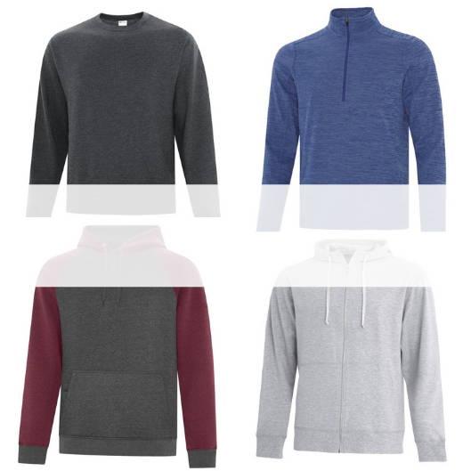 Blank, unbranded sweaters (pullover hoodies, full zip hoodies, crew neck sweaters, 1/2 and 1/4 zip sweaters)