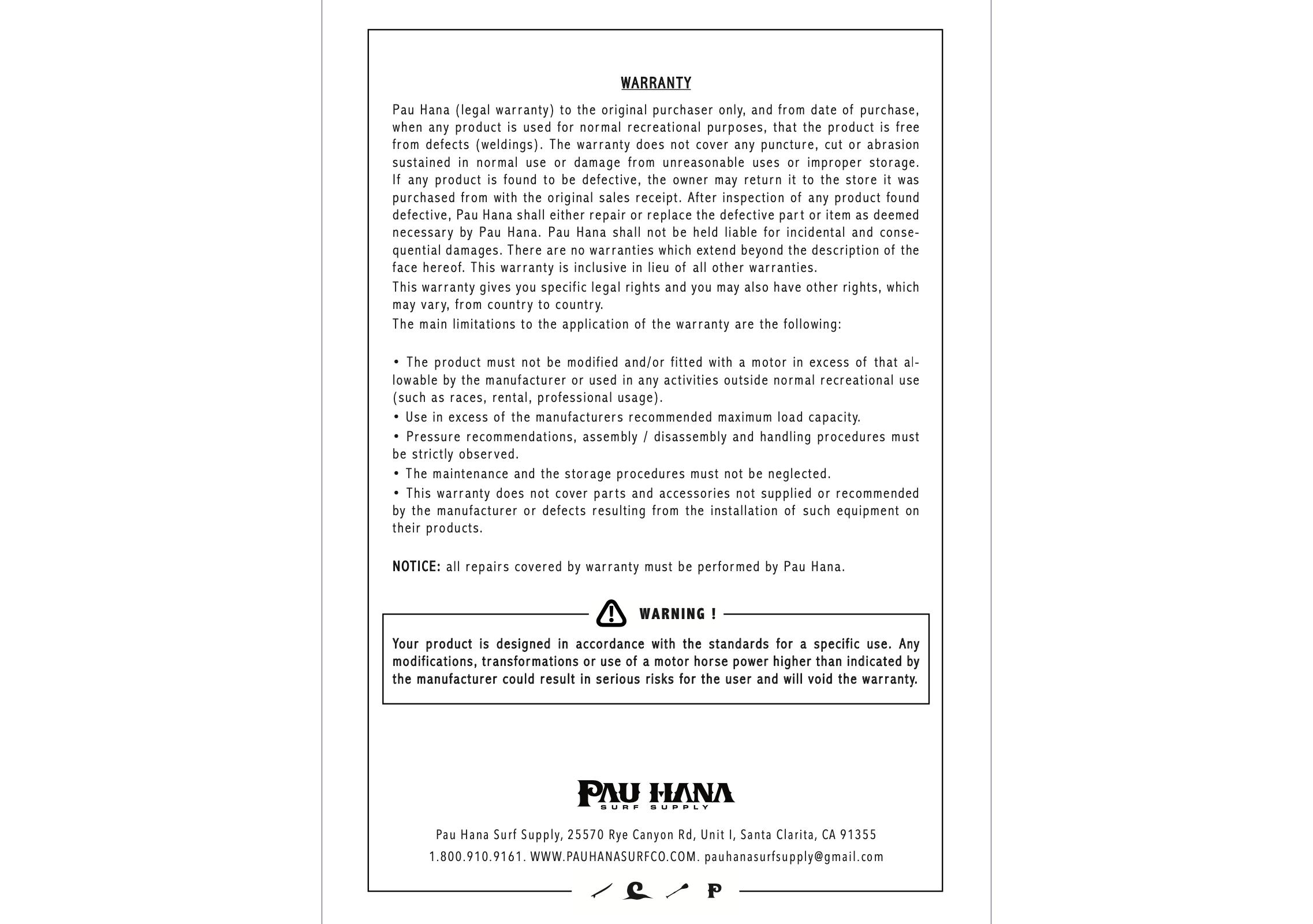 pau hana inflatable stand up paddle board user manual page 8