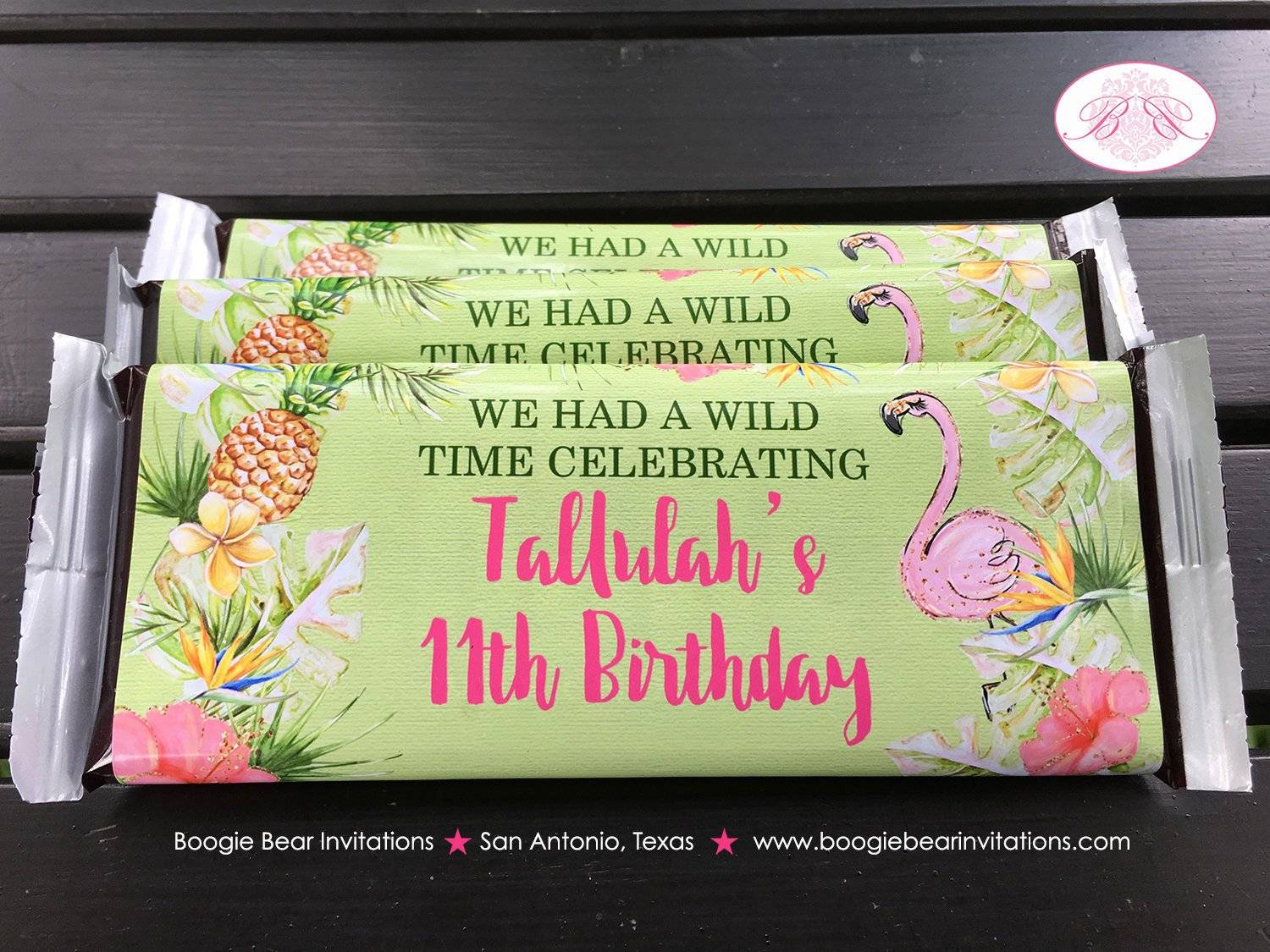 Tropical Paradise Tallulah Theme Birthday Candy Bar Wrappers